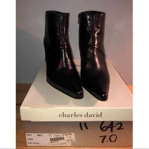NWT Black Leather Charles David Ankle Booties